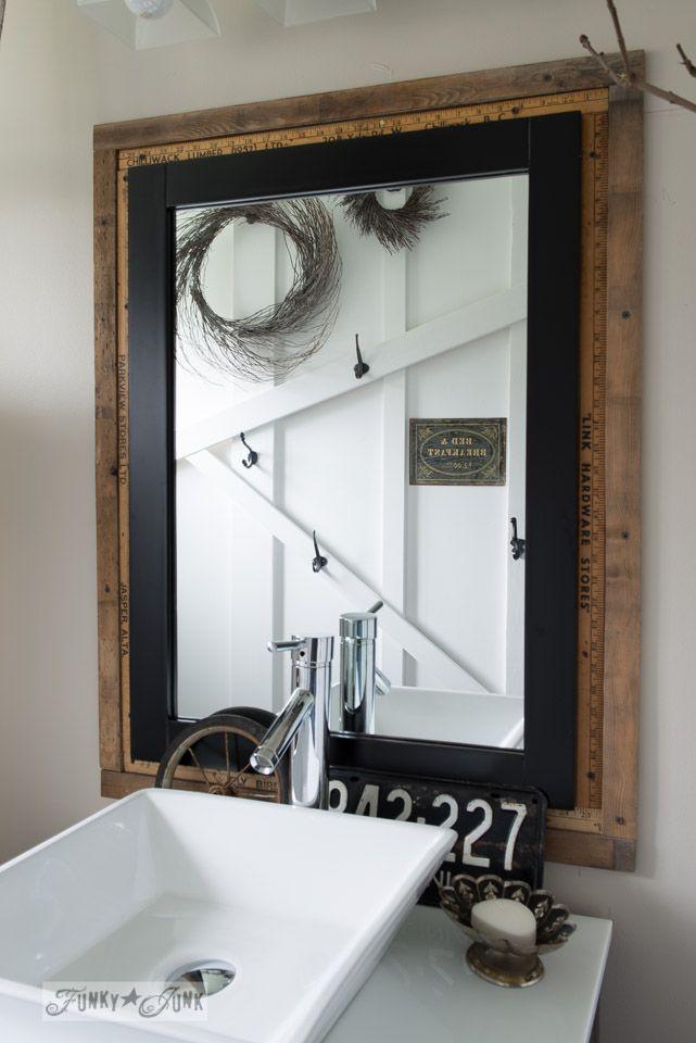 Salvaged Farmhouse Bathroom Makeover With Vintage Trim