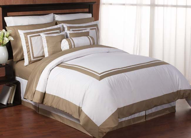 Taupe And White Comforter Set Hotel Spa White And Taupe Duvet