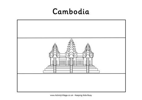 Cambodia Flag Colouring Page Print In 2019 Flag Coloring