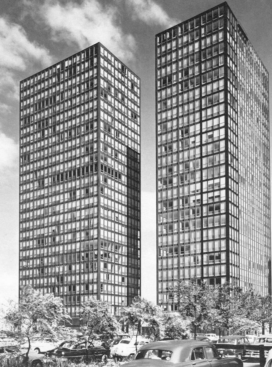 Mies Van Der Rohe S Lake Drive Apartments In 1950 Chicago
