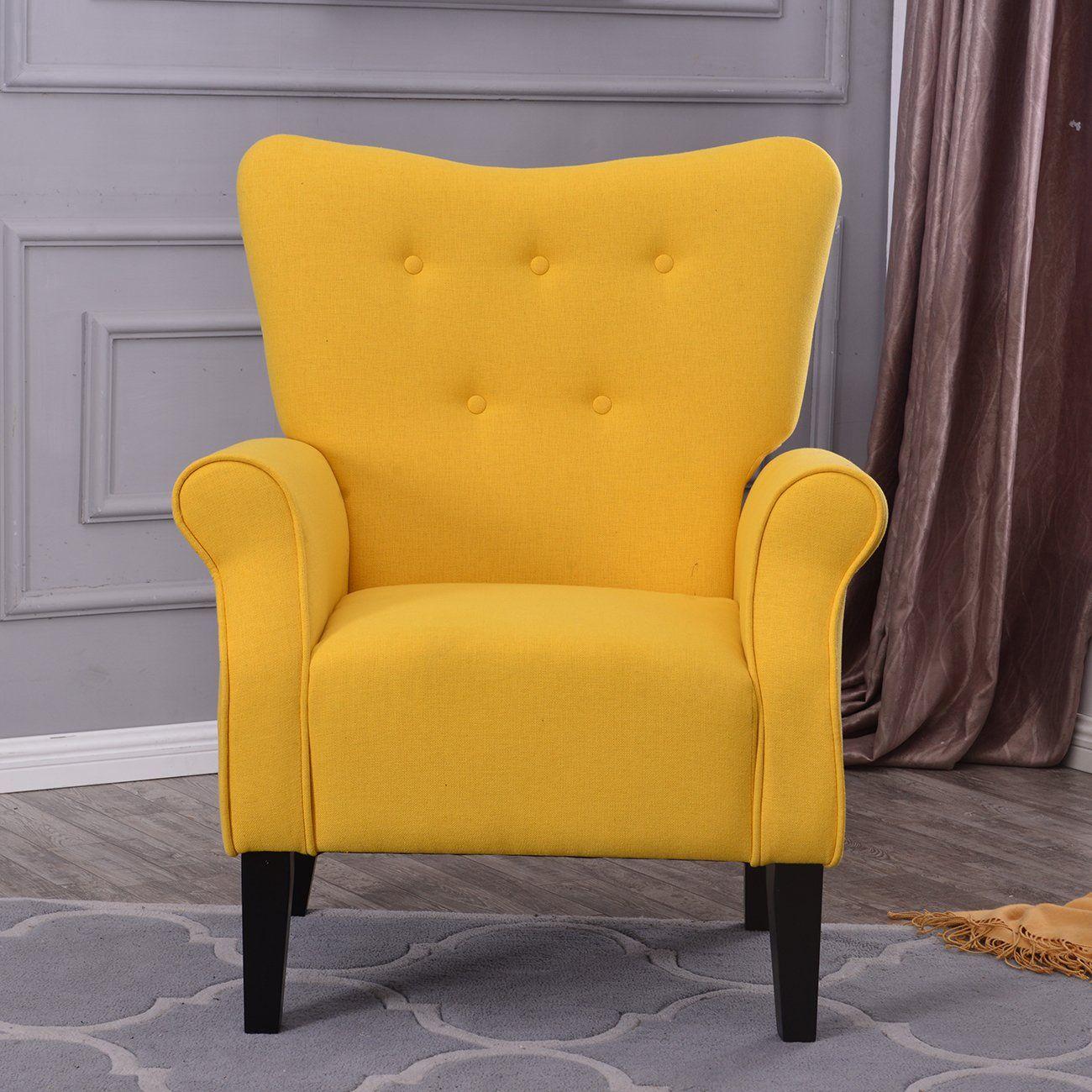 Best Belleze Modern Accent Chair Roll Arm Linen Living Room 400 x 300