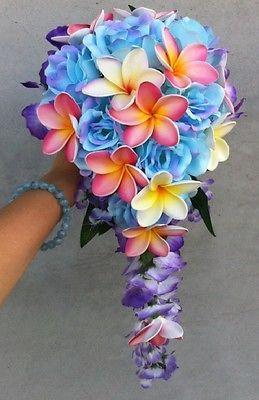 Beauty Tropical Blue Rose Pink Frangipani Plumeria Wedding Bouquet