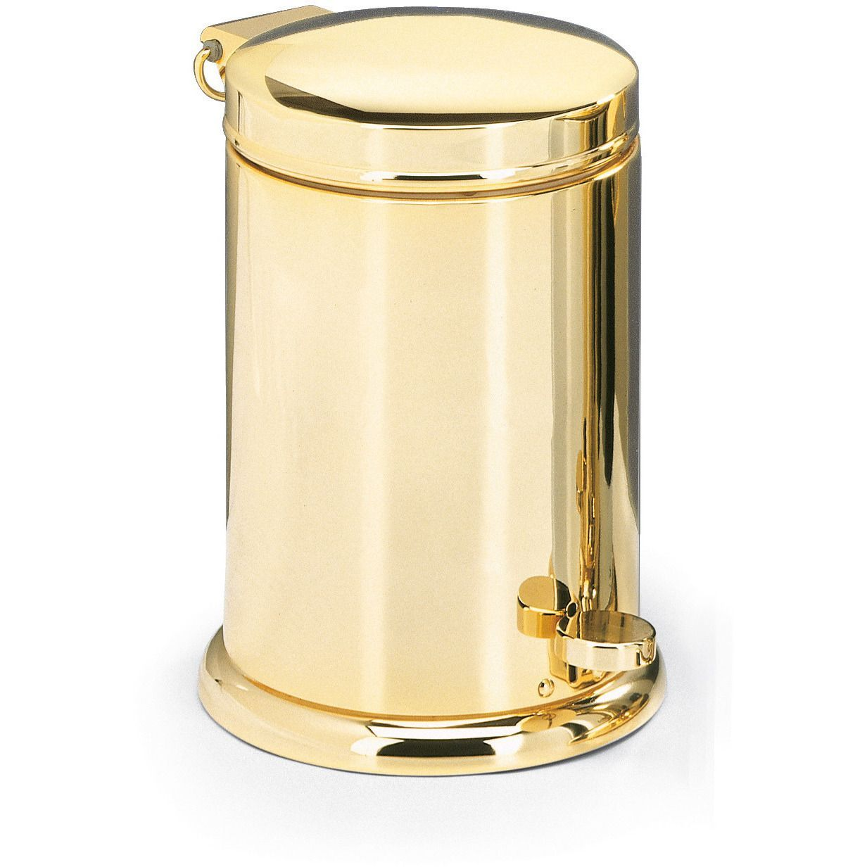 Dwba luxury round step trash can brass polished for Covered bathroom wastebasket