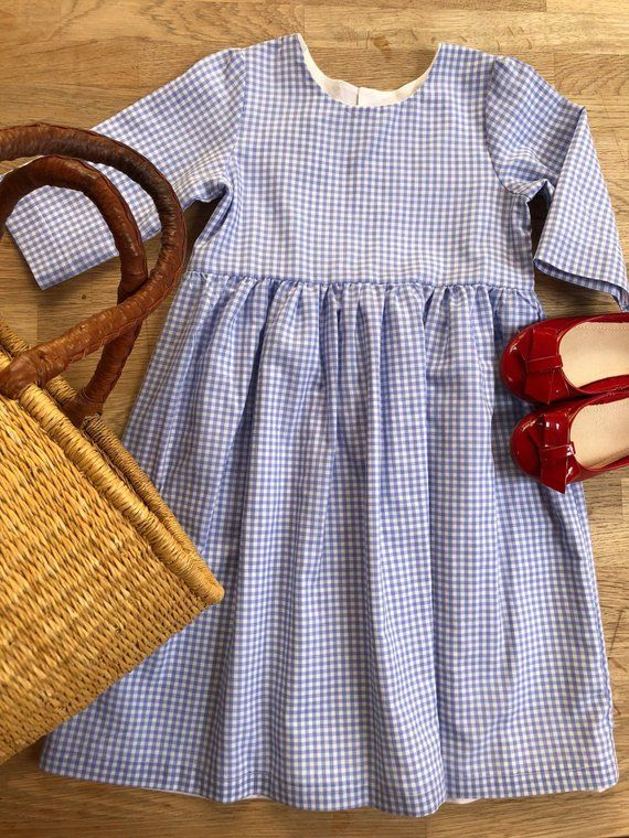 eed2e981c Light Blue Gingham Checked Dress with Mid length Sleeves | Products ...