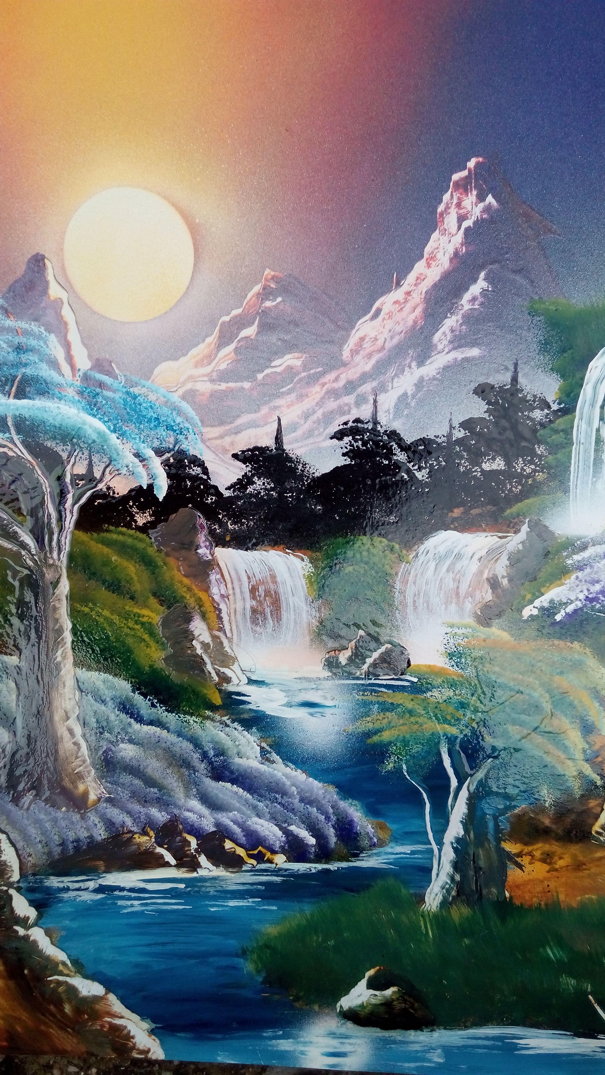 Paisaje En Hecho Con Aerosolgrafia Waterfall Paintings Beautiful Paintings Beautiful Nature Wallpaper