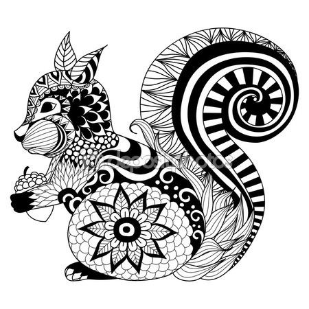 Hand drawn squirrel zentangle style — Vector de stock | Embroidery ...
