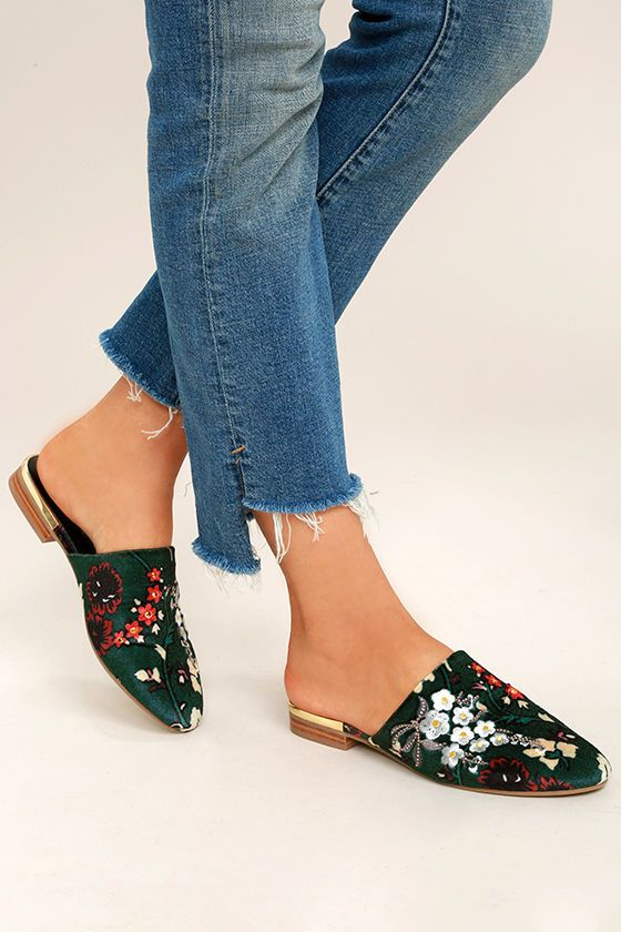 2ea92785bf6 Steve Madden Snapp Multi Velvet Embroidered Mules | Shoes, Shoes ...