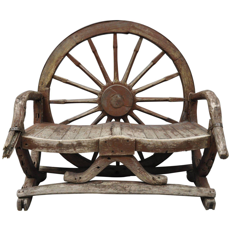 Antique Primitive Conestoga Wagon Wheel Red Bench Large Rustic