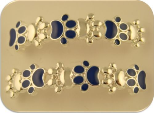 2 Hole Beads Dog Cat Animal Paw Print Bars ~ Blue Enamel  Silver - Resume Sample For Pennsylvania University