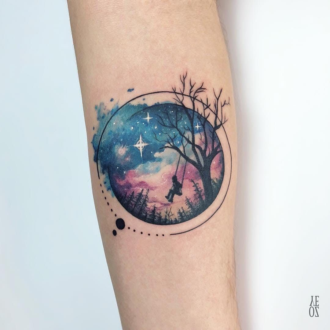 Galexy Girl Swinging Tattoo: Watercolor Galaxy Tattoo By Yeliz Ozcan #YelizOzcan