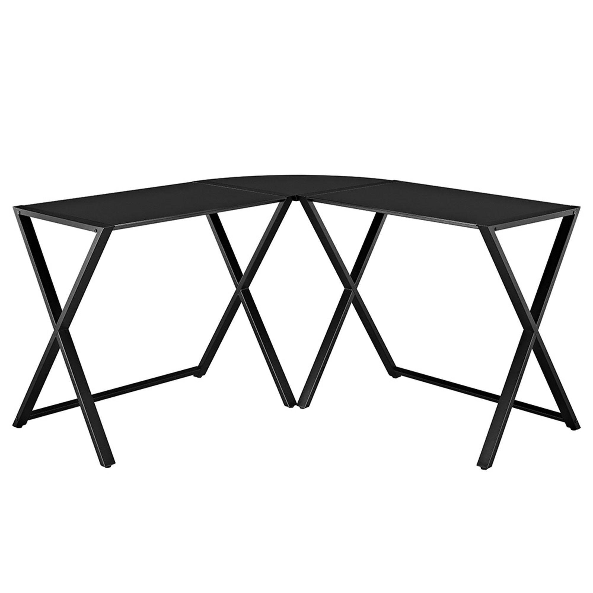 buy X-frame Glass & Metal L-Shaped Computer Desk - Black/Black at ...