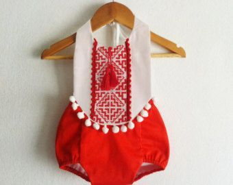 89b7a660b Baby Girl Romper/ Linen Boho Chic Sunsuit/ Baby Clothes/ Tribal ...