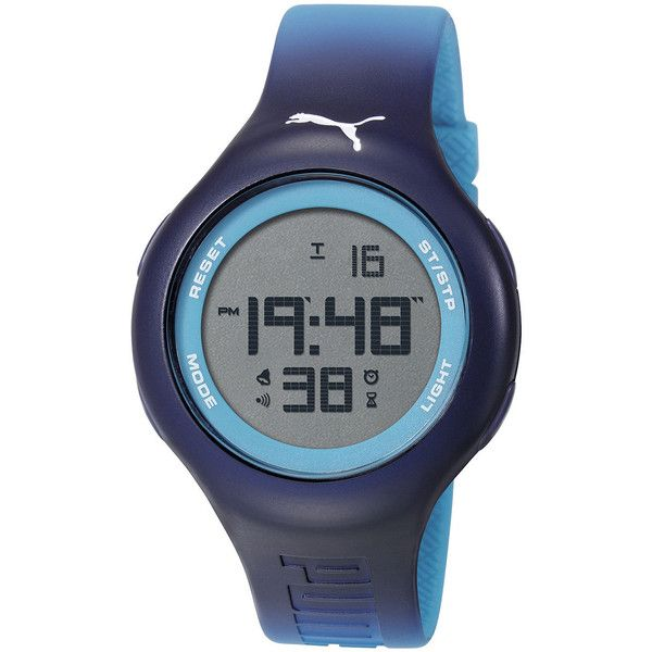 Puma Unisex Digital Blue Gradient Watch PU910801036 ($48) ❤ liked on Polyvore featuring jewelry, watches, digital watches, puma wrist watch, plastic jewelry, water resistant watches and sporty watches