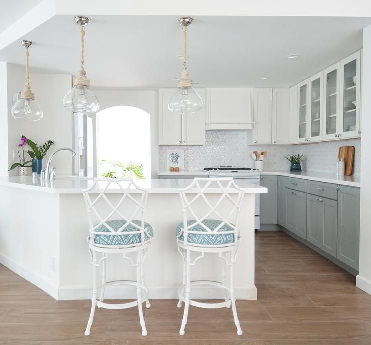 Kitchen Cabinets Grey Lower White Upper: White And Gray Kitchen Features White Upper Cabinets And
