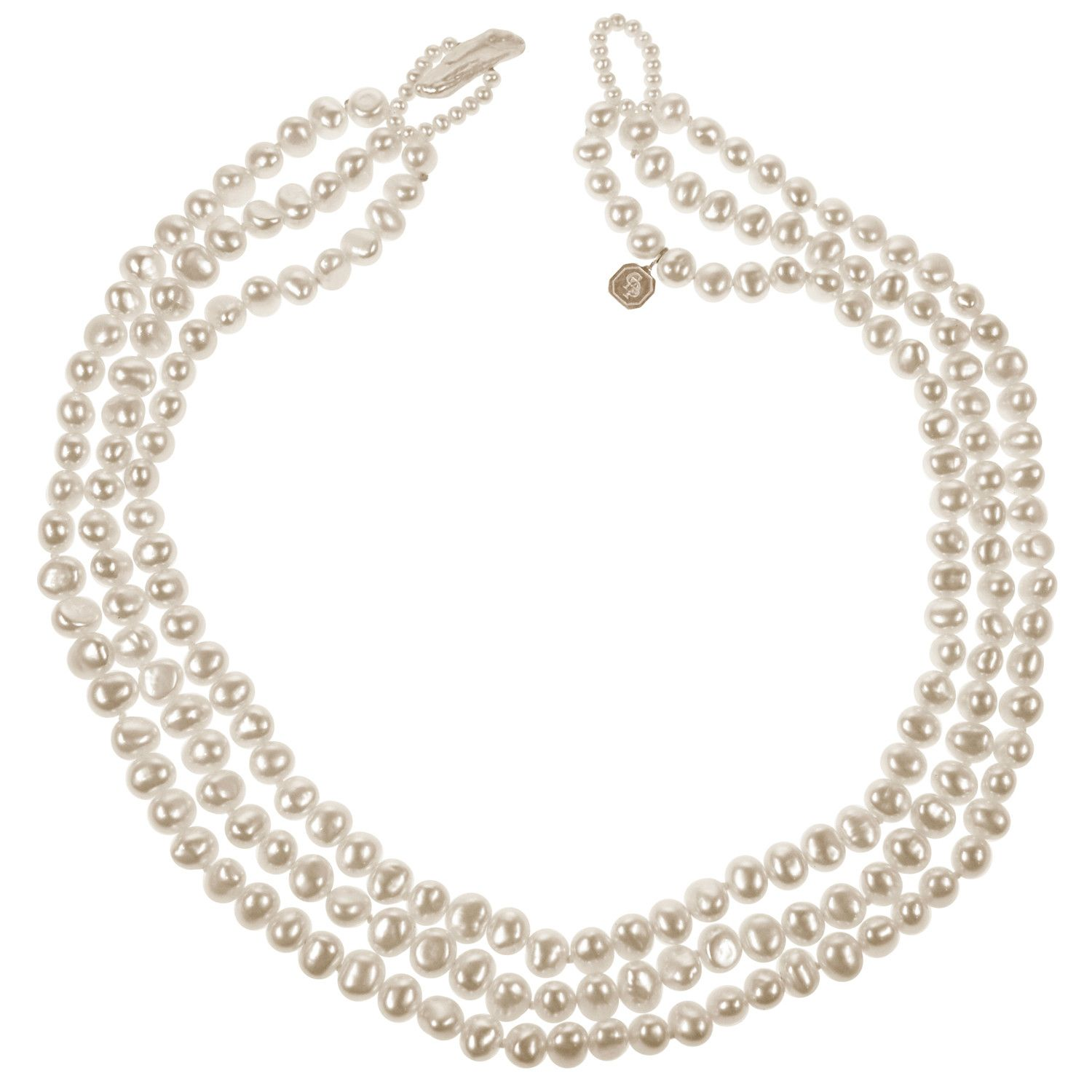 9eb5ad20b Classic 3 Strand Biwa Pearl Necklace in White from Coleman Douglas Pearls