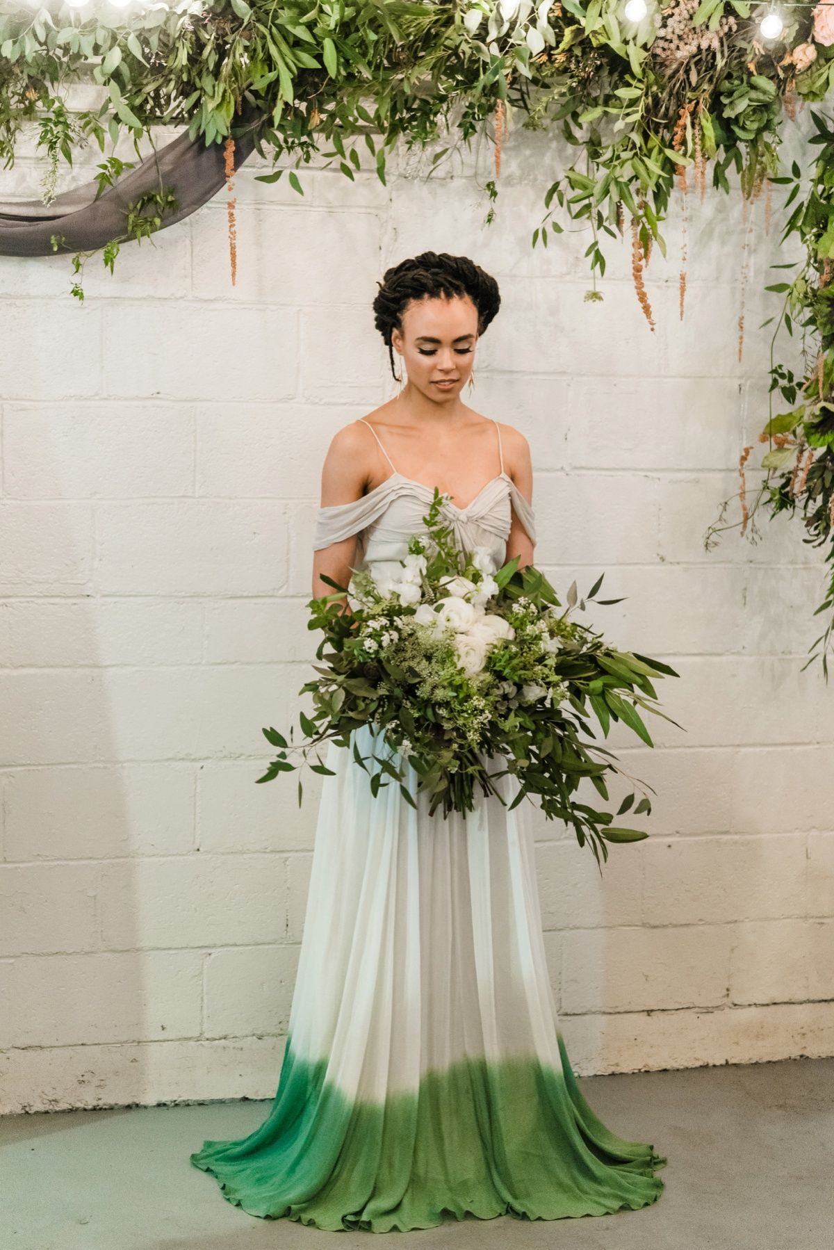 Green White Spring Inspired Wedding Styled Shoot Green Wedding Dresses White Wedding Dresses Wedding Dress Styles
