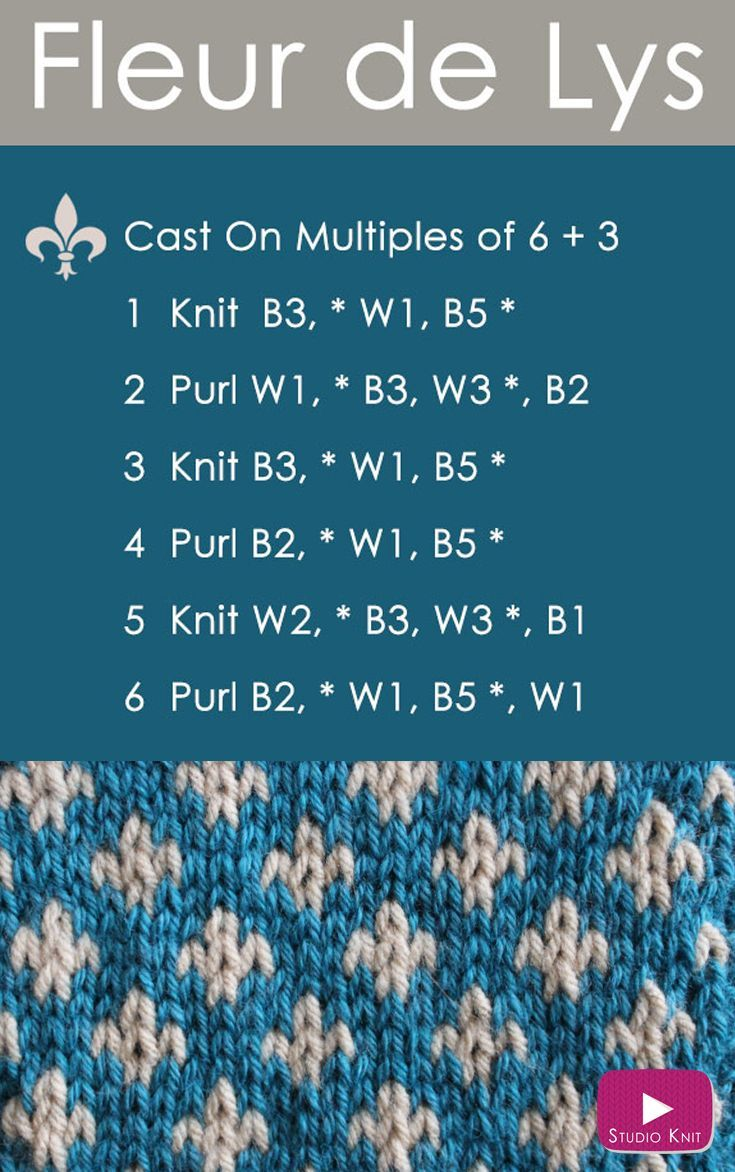 Video tutorial how to knit the fleur de lys pattern with studio how to knit the fleur de lys easy free knitting pattern 2 stranded colorwork via could also work for crochet in sc bankloansurffo Gallery