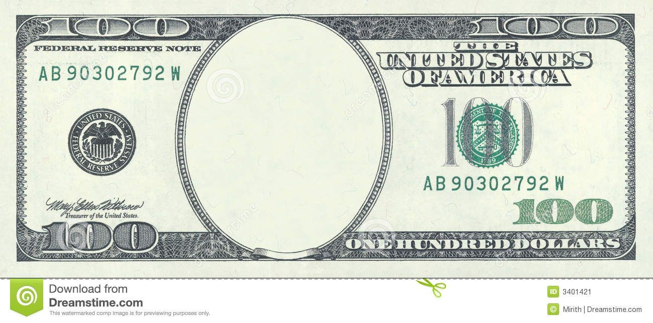 New 100 Dollar Bill Blank Template Invitation Templates 100th