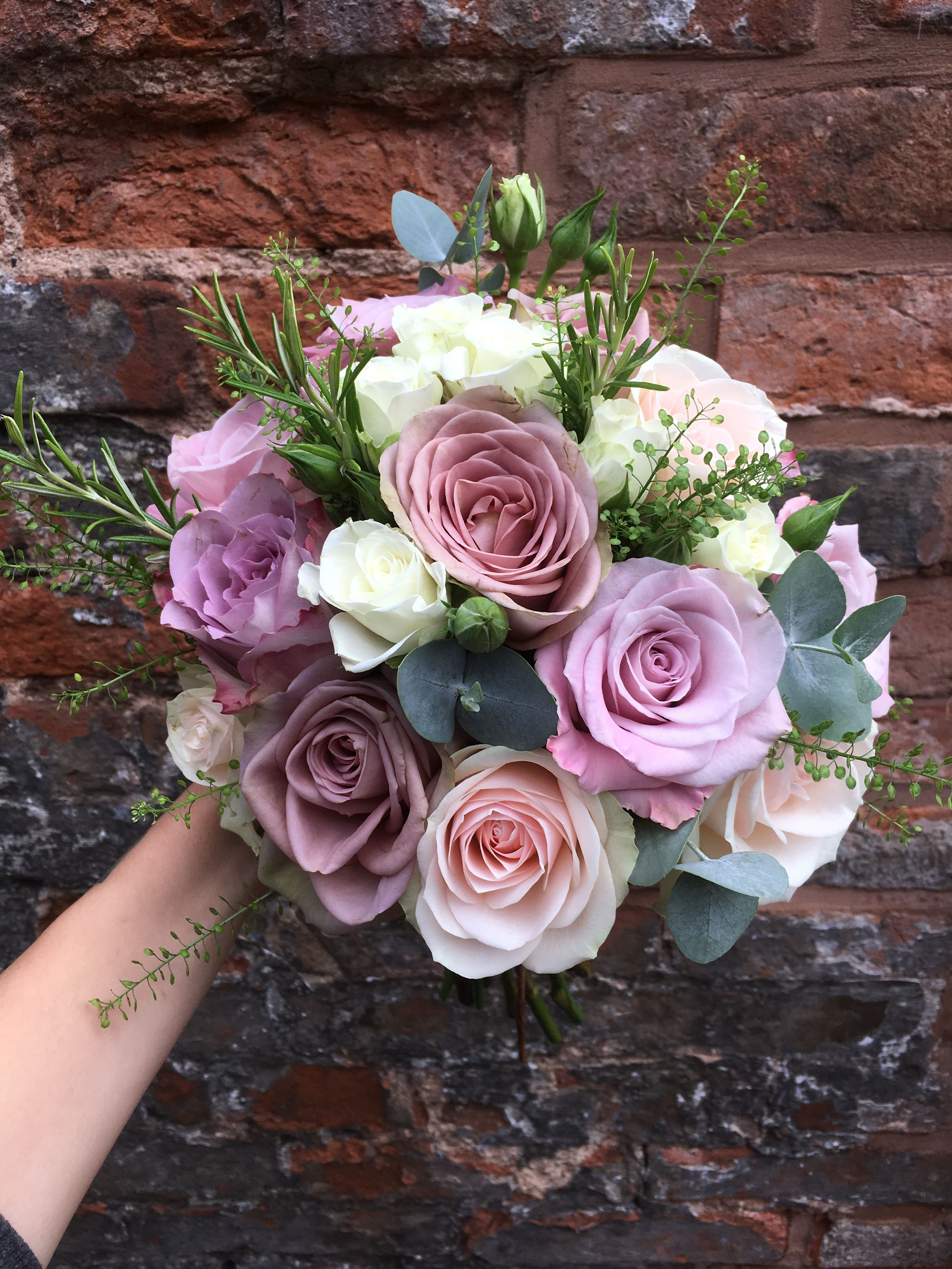 Roses In Garden: Bridesmaid Bouquet-muted Lilac Tones -Ivory And Lilac