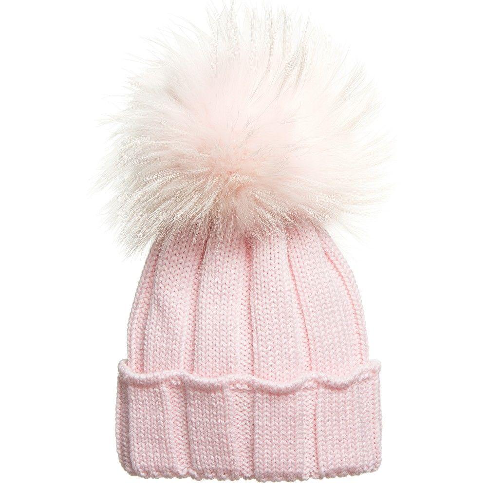 321b0bcc0ee251 Catya - Pink Merino Hat with Fur Pom-Pom | Childrensalon | LC Girl ...