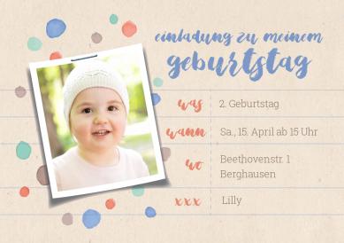 Süße Einladung Zum 2. Geburtstag In Pastell Tönen Mit Foto Für Junge Oder  Mädchen