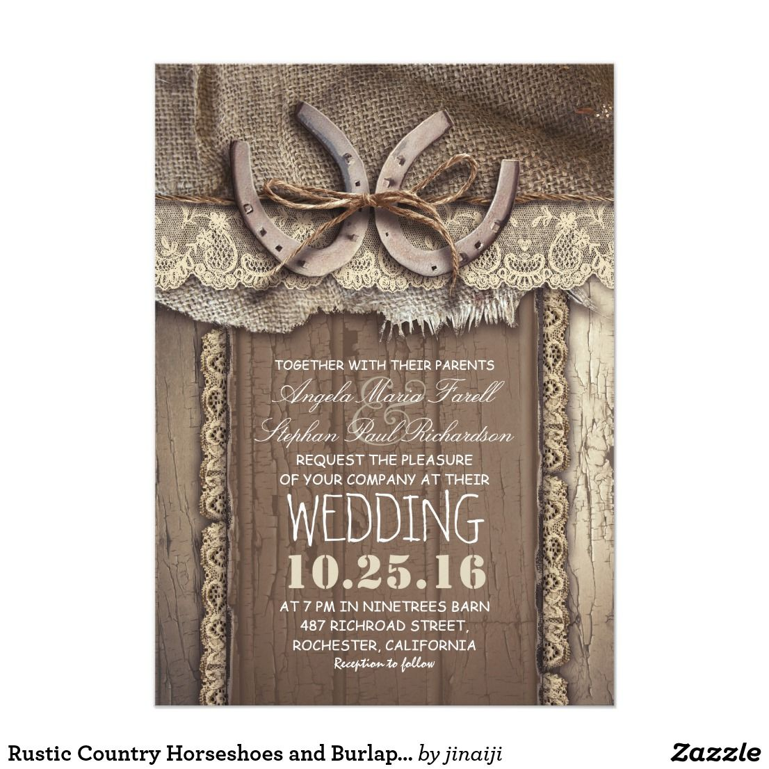 Rustic Country Horseshoes And Burlap Lace Wedding Card Burlap Lace