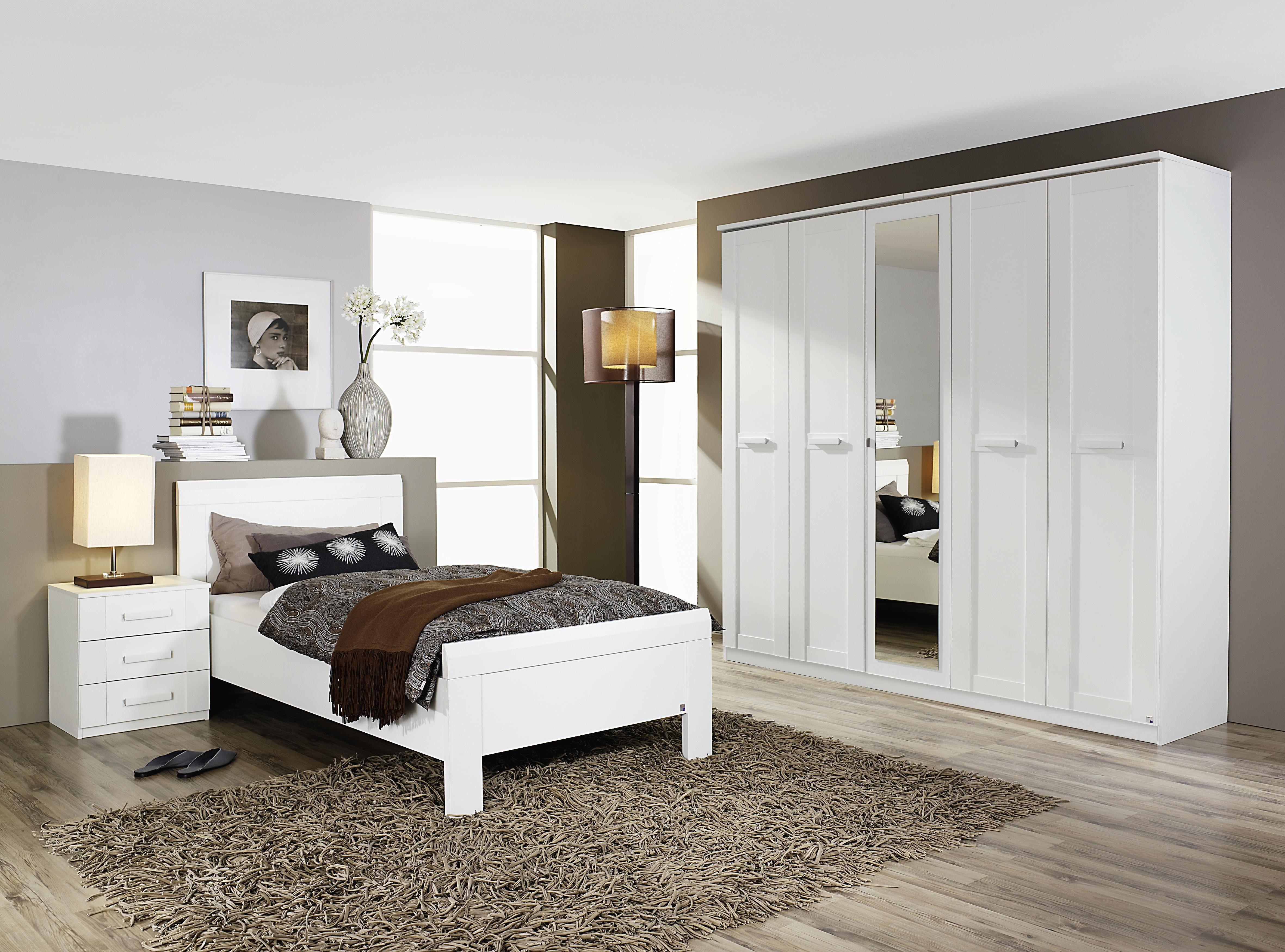Schlafzimmer Mit Bett 90 X 200 Cm Alpinweiss Woody 33 00837 Holz Modern  Jetzt Bestellen