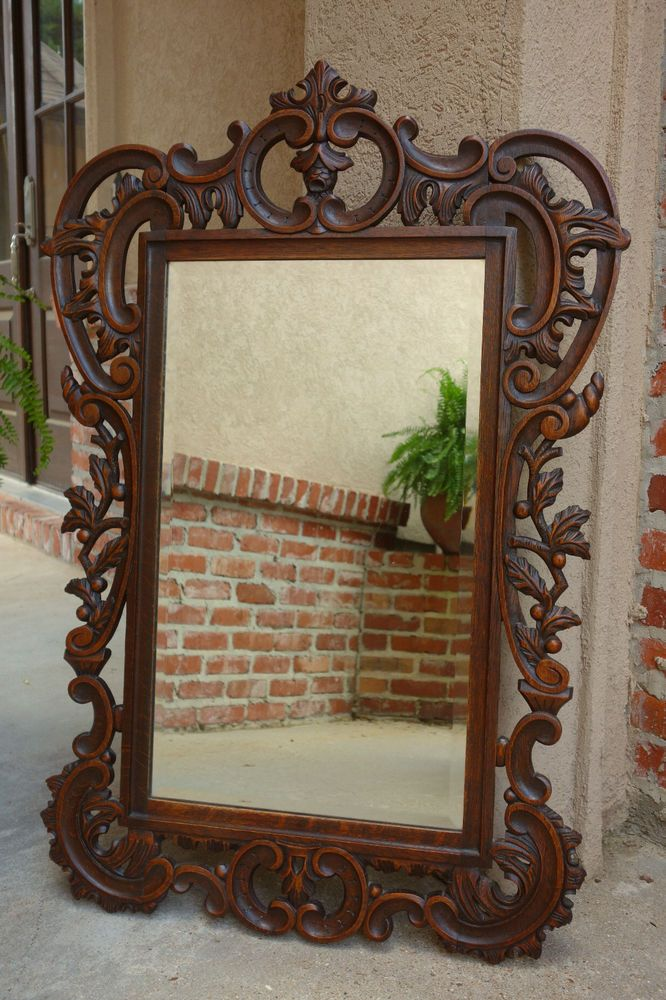 Antique French Carved Dark Oak WALL MIRROR Frame Large ...
