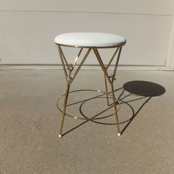 Vintage Vanity Stool, Hollywood Regency,Vanity Chair, Gold Metal ...
