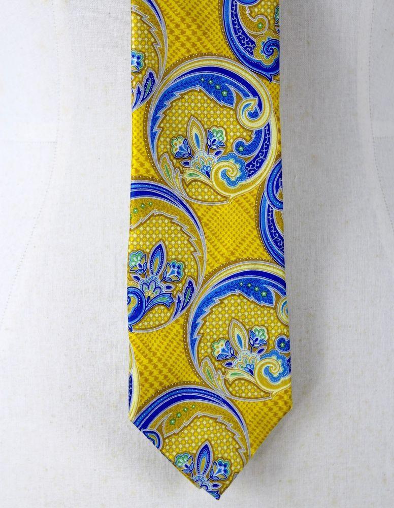 21e37869c1b7 Geoffrey Been IIII Silk Neck Tie Yellow Blue Paisley Circles Classic  #GeoffreyBeeneIIII #Tie
