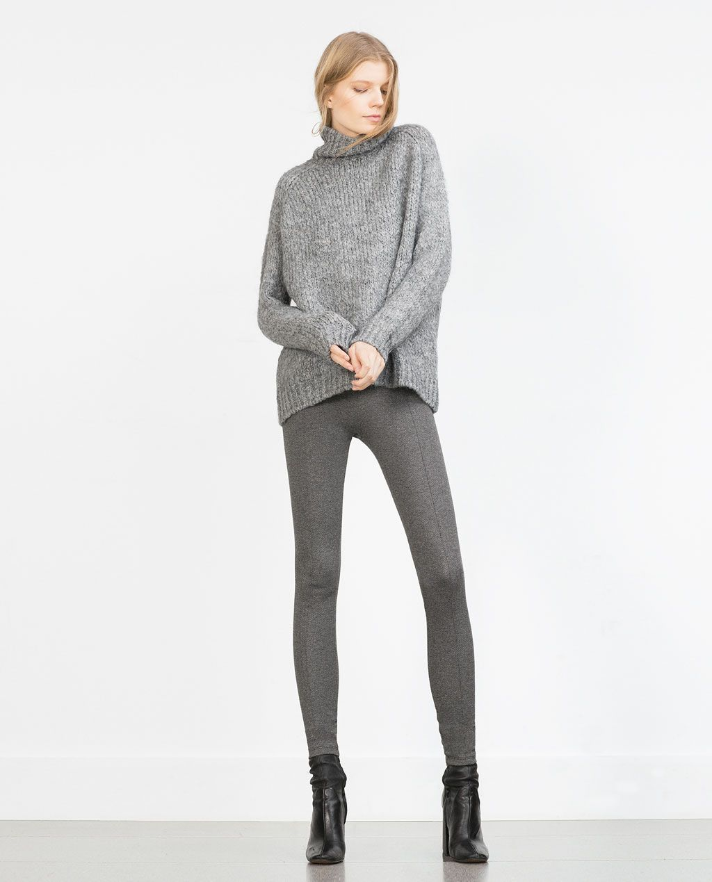 ZARA - WOMAN - JACQUARD HERRINGBONE LEGGINGS