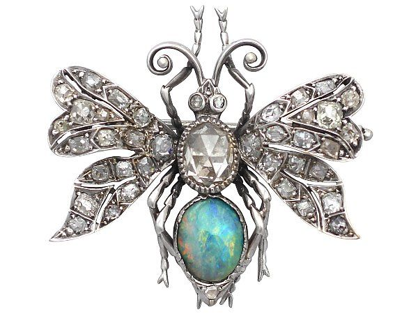 '2.53 ct Diamond and Opal Insect Brooch - Antique French' http://www.acsilver.co.uk/shop/pc/2-53-ct-Diamond-and-0-84-ct-Opal-18-ct-White-Gold-Insect-Brooch-Antique-French-Circa-1900-107p6220.htm