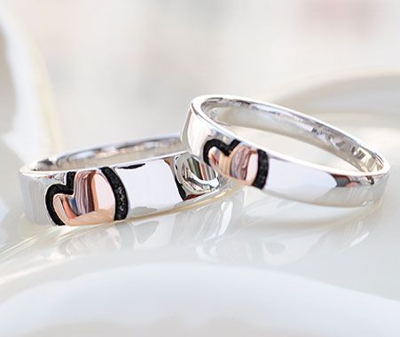 Matching Promise Rings For Couples His U0026 Hers Pink Rose Gold Plated Heart  Wedding Bands Set
