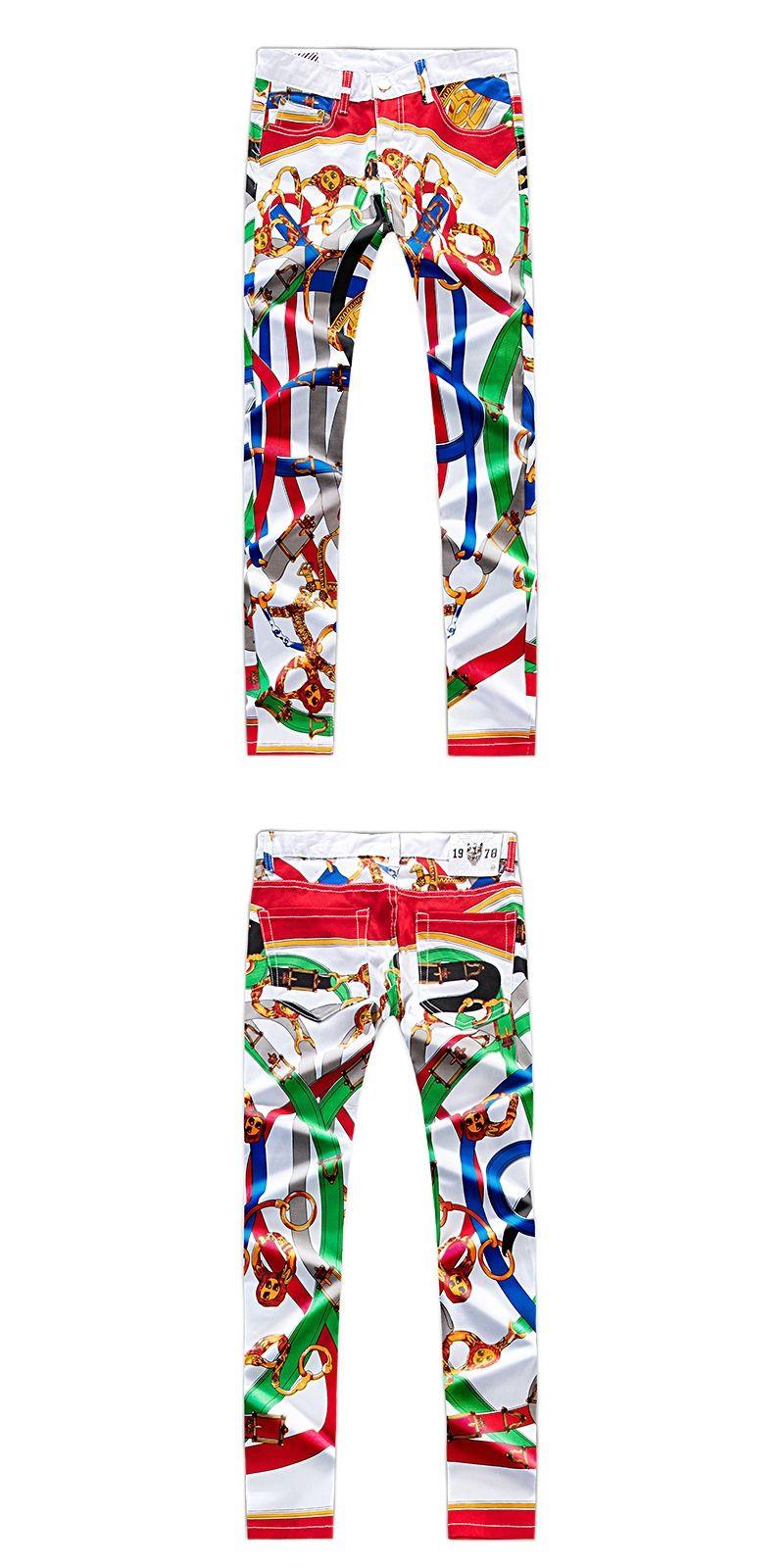 8d311a5c40d 2018 New Designer Men Fashion Jeans Famous Brand Italian luxury print Jeans  Slim Fit Mens Printed Jeans Biker Denim Pants