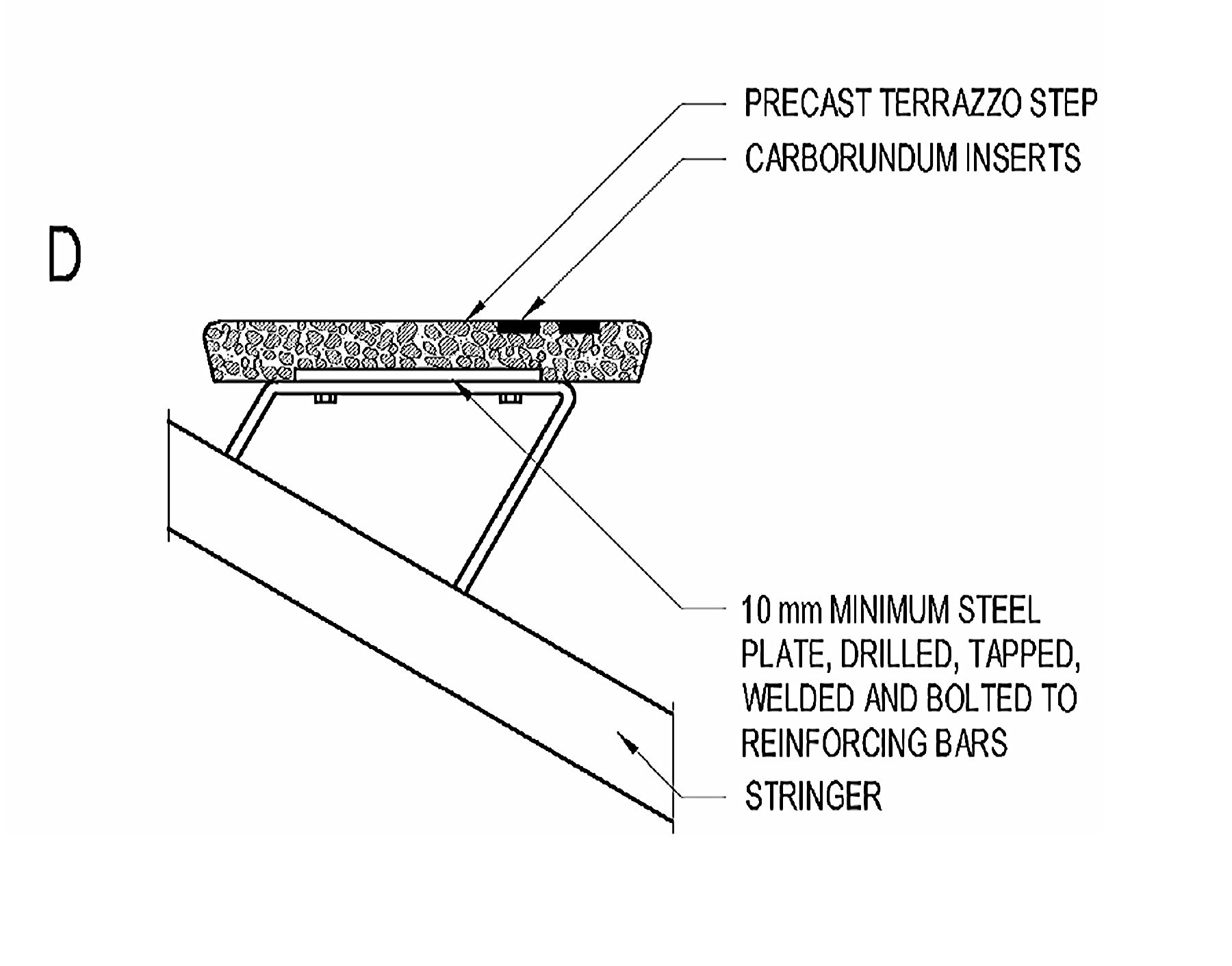 Precast terrazzo stair treads can be set on steel stairs ...