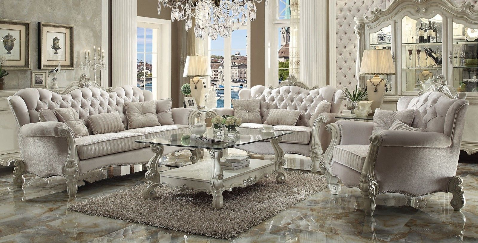 Best Acme Versailles 2 Piece Living Room Set In Ivory Velvet 400 x 300