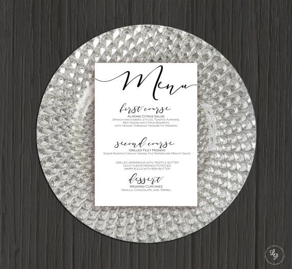 Wedding Menu Template, Dinner Menu, Menu Cards, Printable Wedding - free dinner menu templates