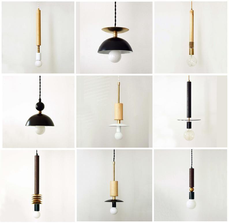 Black Ceiling Minimalist Pendant Lamp Ceiling Lighting Wood Etsy