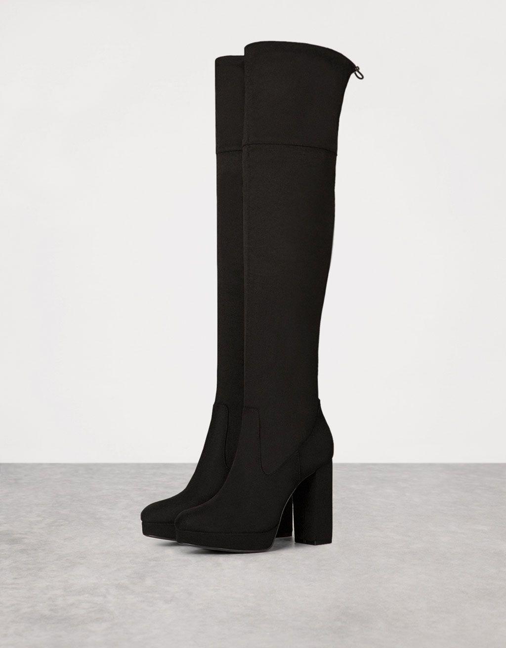 Bershka France - Bottes hautes talon large plateforme   chaussures ... d11e2964cbce