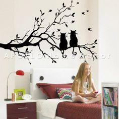 Dos gatos en rama de rbol largo bricolaje pared vinilo for Webs decoracion hogar