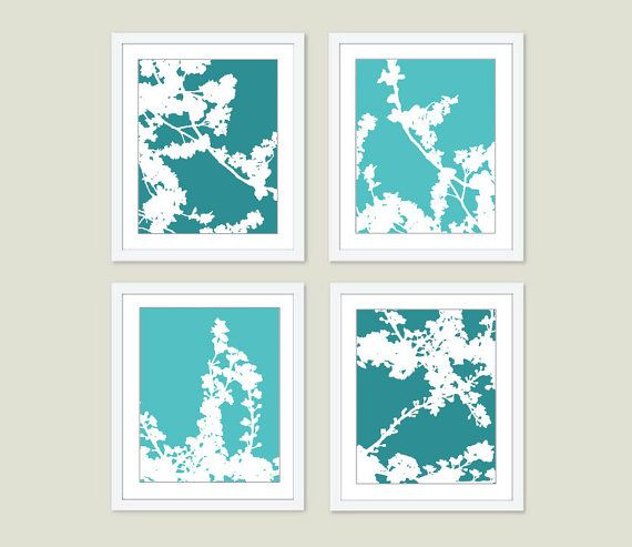 Cherry blossoms digital print set teal turquoise spring flowers multi panel wall art modern home decor also birds and branches yellow rh pinterest