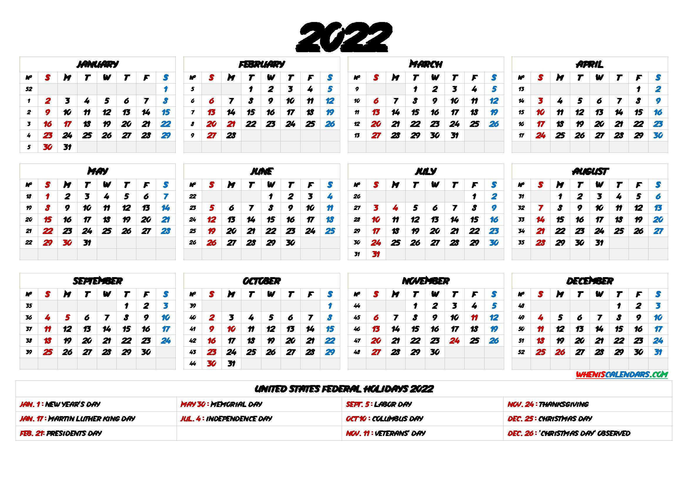 Download free printable 2022 calendar with singapore holidays pdf and customize template as you like. 20+ Federal Holidays 2022 - Free Download Printable ...
