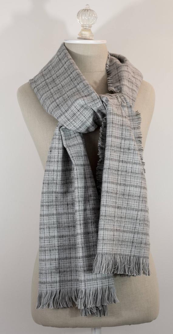 Photo of Plaid Flannel Scarf | 11 x 72 Gray Plaid Scarf | Mens Scarf | Womens Scarf | Chr…