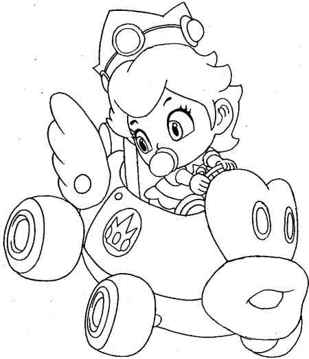 How To Draw Baby Princess Peach Driving Her Car From Wii Mario