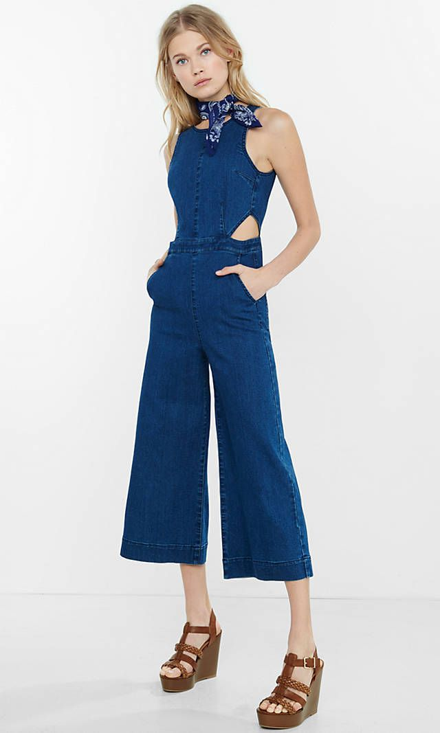 f2919b385dda Sleeveless Denim Cut-out Culotte Jumpsuit from EXPRESS