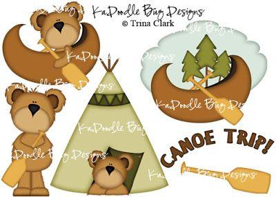 Canoe Trip Bears Paper Piecing Pattern, Cutting File, Scrapbook, Silhouette Studio, SVG File, MTC, SCAL, Trina Clark