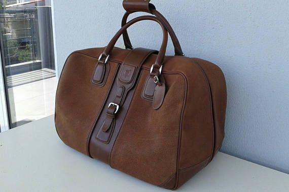 Vintage Gucci Brown Leather Travel Bag Weekender Overnight Gucci Vintage Bag Vintage Gucci Leather Travel Bag