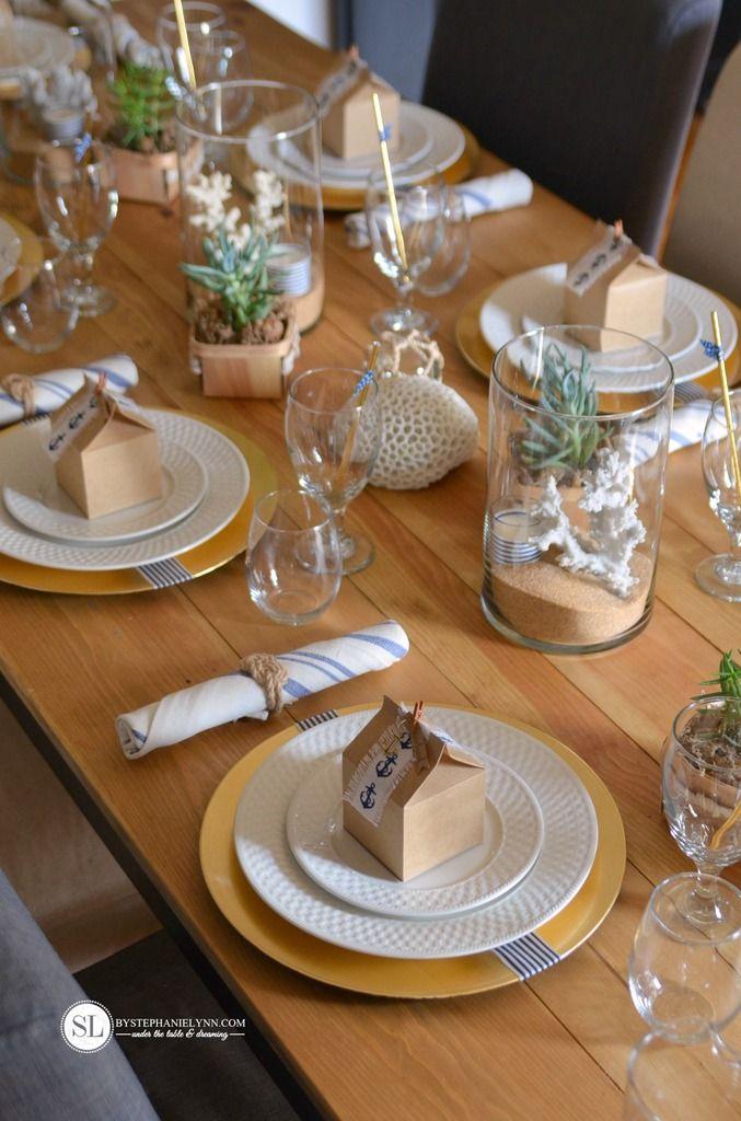 Nautical Table Setting Diy Beach Themed Tablescape Bystephanielynn Dinner Party Table Settings Nautical Party Decorations Nautical Table