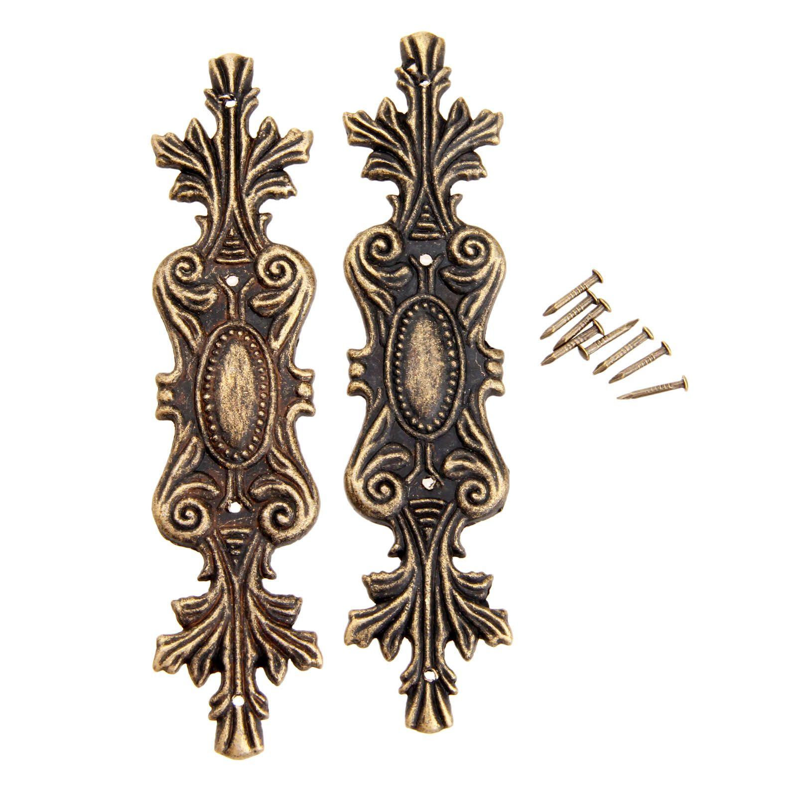 2pcs Antique Decorative Corner Bracket For Furniture Wooden Box Feet Protector Ings
