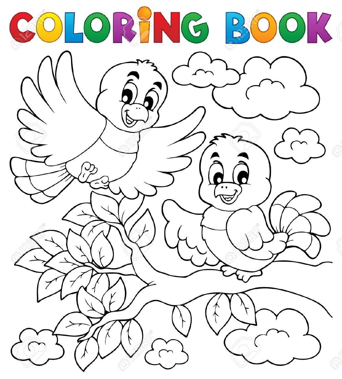 18088646-coloring-book-bird-theme-2-vector-illustration-colouring ...